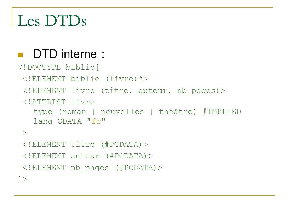 Les DTDs DTD interne : <!DOCTYPE biblio[